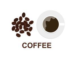 Ilustração em vetor de xícara de café e grãos de café sobre fundo branco