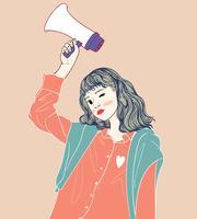Mulheres segurando megafones estão sendo anunciadas em locais públicos.