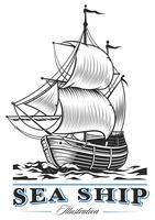 Navio do mar vintage vetor