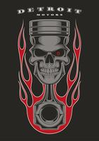 Emblema de motociclista de pistão de crânio. vetor