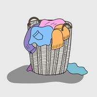 Uma variedade de roupas coloridas são misturadas em uma cesta de madeira que parece suja vetor
