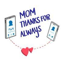 Ambos os telefones estão conversando entre mãe e filha vetor