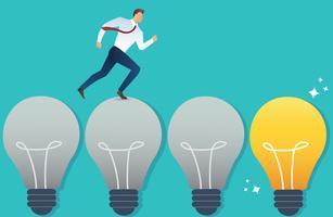 ilustração do empresário em execução no conceito de idéia de lâmpada vetor