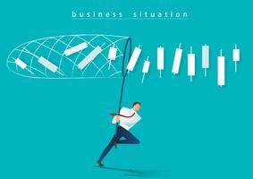 empresário tentando pegar o conceito de negócio de gráfico de castiçal vetor