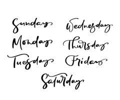 Mão desenhada letras decorativas de dias da semana com letras diferentes em isolado no fundo branco para o calendário, planejador, diário, decoração, adesivo, cartaz vetor