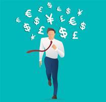 empresário correndo com o ícone de dinheiro, empresário isométrica na moda, ilustração em vetor negócios conceito