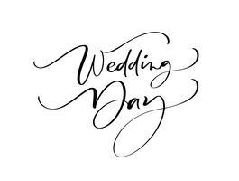 Texto do dia do casamento que rotula o texto no fundo branco. Palavras decorativas manuscritas do projeto em fontes encaracolado. Ótimo design para um cartão ou uma impressão, estilo romântico