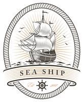 emblema do navio do mar vintage vetor