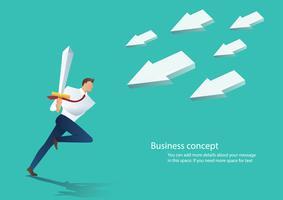 homem de negócios, atraindo o ícone de seta com espada, ilustração em vetor conceito negócio