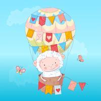 Cordeiro bonito do cartaz em um balão. Desenho à mão. Vetorial, ilustração, de, caricatura, estilo