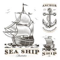 Conjunto de navios antigos vetor