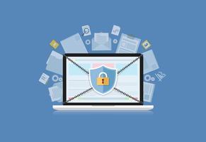 Conceito é o centro de segurança de dados. Escudo no computador Laptop proteger dados sensíveis. Segurança da Internet. Ilustração vetorial