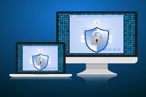 Conceito é segurança de dados. Escudo no computador ou Labtop proteger dados sensíveis. Segurança da Internet. Ilustração vetorial. vetor
