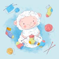 Poster ovelhas e acessórios para tricô. Desenho à mão. Estilo de desenho de ilustração vetorial vetor