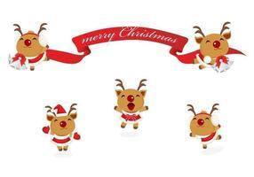 Rena feliz e Banner de Natal Vector Pack