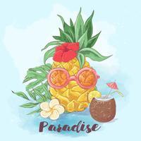 Conjunto de cocktail gelado e frutas tropicais. Ilustração vetorial