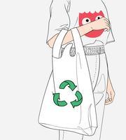 A menina está carregando um saco de pano.