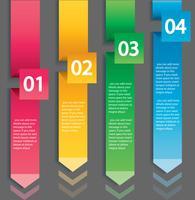 Conceito de infográfico de seta. Modelo de vetor com 4 opções, partes, estágios, botões. Pode ser usado para web, diagrama, gráfico, apresentação, gráfico, relatório, passo a passo infográficos. Fundo abstrato