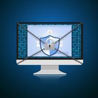 Conceito é segurança de dados. Escudo no computador proteger dados confidenciais. Segurança da Internet. Ilustração vetorial. vetor