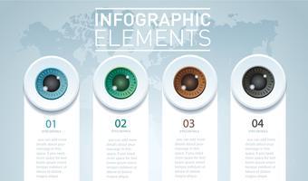 olhos cor infográfico. Modelo de vetor com 4 opções. Pode ser usado para web, diagrama, gráfico, apresentação, gráfico, relatório, passo a passo infográficos. Fundo abstrato