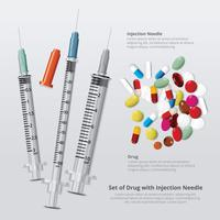 Conjunto de drogas com agulha de injeção realista ilustração vetorial