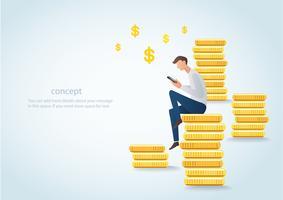 homem, segurando, smartphone, sentando, ligado, moedas ouro, conceito negócio, de, marketing digital, vetorial, ilustração vetor