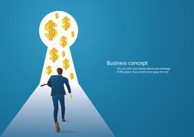 ilustração de conceito de negócio infográfico de um empresário andando no buraco da fechadura com ícone do dólar