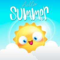 férias de verão na ilustração de fundo de praia vetor