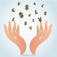 mão segurando o símbolo de dinheiro ícone vector, conceito do negócio