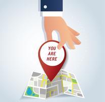 mão segurando o ícone pin, ilustrações vetoriais de ícone de localização vermelho
