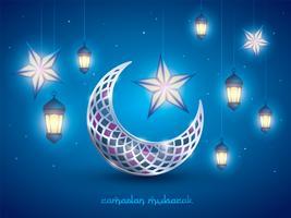 Lua crescente islâmica e lanternas vetor