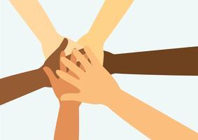pessoas colocando as mãos juntas vector
