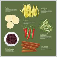 alimento de ingrediente de ilustração vetorial