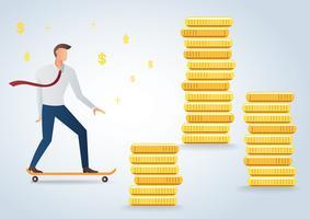 empresário em skate e ilustração em vetor fundo moedas de ouro