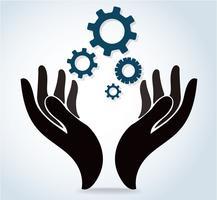 mãos segurando o vetor de ícone de logotipo de design de engrenagem