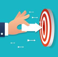 mão segurando o ponto de ícone de seta para o alvo vetor de tiro com arco, a ilustração do conceito de negócio