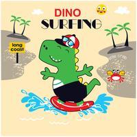 vetor da ilustração do dinossauro do surfista.