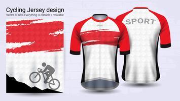 Camisas de ciclismo, modelo de maquete de esporte de manga curta. vetor