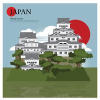 Marco de Himeji Castle Japão e viagens de ilustração vetorial de atrações