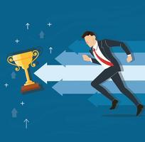 empresário correndo para a ilustração vetorial de troféu