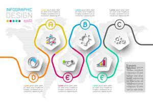 Opções de etapa de negócios e infográficos abstratos número modelo de opções. vetor