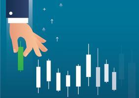 mão segurando um vetor de ícone do mercado de ações de gráfico de castiçal