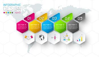 Negócios hexágono rótulos forma infográfico grupos bar.