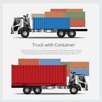 Transporte de caminhões de carga com recipiente isolado ilustração vetorial vetor