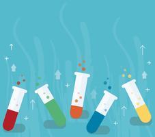 laboratório colorido, preenchido com um líquido claro e fundo azul