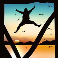 Silhueta e menina de salto no crepúsculo com céu azul.