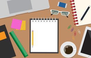 Vista superior do vetor de área de trabalho com escritório de artigos de papelaria no fundo da mesa - ilustração vetorial