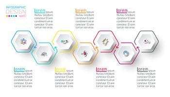 Inforgraphics do hexágono na arte gráfica de vetor. vetor