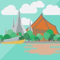 Templo do amanhecer, Tailândia com design plano vetor
