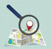 o ícone de localização de lupa e pin e o vetor de mapa, o conceito de viagens
